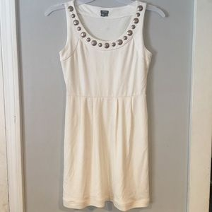 Muse cream mini dress with collar embellishment
